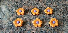 "Novelty Buttons (new) 7/8"" (6) SWIRL HEART FLOWERS ORANGE /PURPLE"