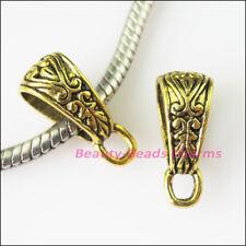 20 Antiqued Gold Tone Flower Bail Bead Fit Bracelet Charms Connectors 7x17.5mm
