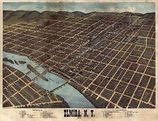 1873 H.H. BAILEY, BIRD'S EYE VIEW OF ELMIRA, NEW YORK, COPY POSTER MAP