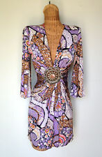 SKY BRAND Silk Knit Pucci Print Medallion Sexy Plunging V Neck Mini Dress XS S