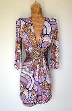 SKY BRAND Silk Knit Pucci Print Medallion Sexy Plunging V Neck Mini Dress XS S