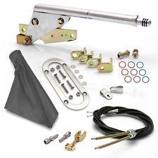 Street Rod Floor Mnt E-Brake HandleGray Boot, Chr Ring, Cable Kit, GM Clevis