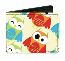 Owl Eyes Yellow Reds Blues Design Durable Buckle Down Bi-fold Wallet New Gift