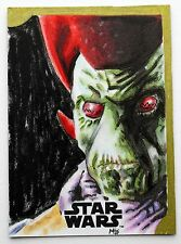 NUTE GUNRAY 2016 TOPPS STAR WARS THE FORCE AWAKENS MATT STEWART SKETCH 1/1 ART