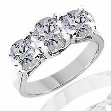 2 1/2ct Three Stone HUGE D/vvs1 Diamond Engagement 14k White Gold Ring