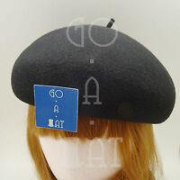 VINTAGE Wool Felt Women Pillbox Hat Ladies Soft Beret Crown   56cm   Black Brown