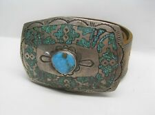 Vintage Native American Sterling Silver and Turquoise Inlay Belt Buckle with Lea