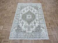 4 x 5'11 Hand Knotted Ivory Sultanabad Oushak Oriental Rug Ushak G8117