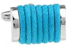 Rectangle Blue Wrapped Cloth Cufflinks Wedding Fancy Gift Box Free Ship USA
