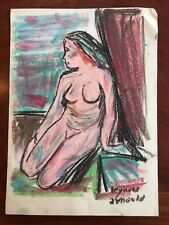 Original Modernist Watercolor & Pastels Nude Painting Signed Reynold Arnould