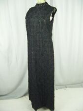 Vtg 60-70s Heavy Beaded Black Lace Long Party Dress-Bust 36/Xs-S