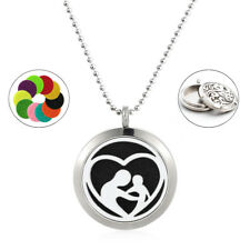 1set Stainless Steel mom & Kids Aromatherapy Diffuser Locket Pendant + Necklace