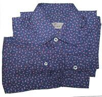 Canali Size S Blue Fox Print Long Sleeve Button Front Cotton Shirt