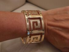 NEW Women's Fashion Cuff Bracelet Bangle jewlrey Greek Key 18K yellow GP