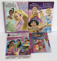 4 Disney Princess Jumbo Coloring & Activity Books Crayons Sticker Story Tiana
