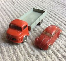 LEGO HO Scale VW-1200 Bug & Mercedes Flatbed Truck, 1960's