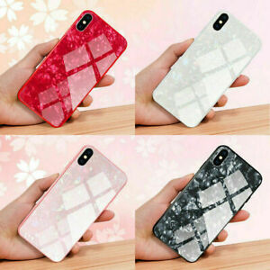 Case For Apple iPhone X XR XS 11 12 Pro Max 7 8 Marble Tempered Glass Hard Cover