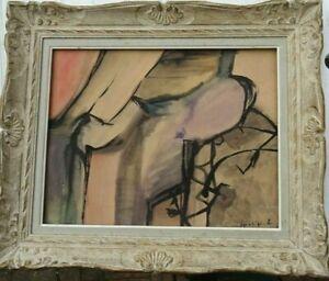 JACQUES GRANGE (1909-1996) ECOLE PARIS GOUACHE  ORIG 1952 NATURE MORTE CUBISTE