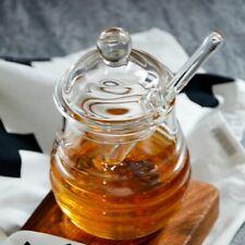 Clear Non-toxic Honey Jar Glass Pot Molded Silicone Dipper Lid Crate & Barrel