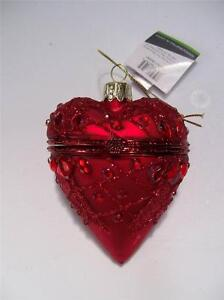 "NWT 3.5"" RED Valentine Glitter Mercury GLASS Hinged HEART Box CHRISTMAS Ornament"