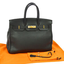 Authentic HERMES BIRKIN 35 Hand Bag Black Veau Crispe Togo France VTG JT05497