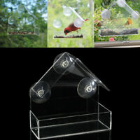 Acrylic Bird Squirrel Food Feeder Clear Birdhouse With Window Suction Cup Mount
