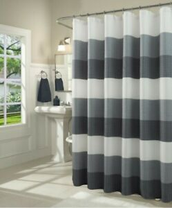 """Striped Waffle Weaved Shower Curtain Fabric Navy  72""""×72""""  Washable"""