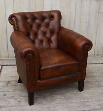 MALLORY CHOCOLATE LEATHER ARMCHAIR