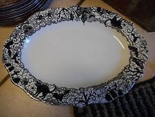 """New  222 FIFTH  Wiccan Lace Halloween 14"""" Platter Skull Bat Owl Cat Witch"""
