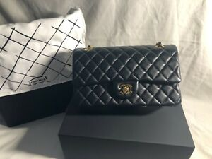 CHANEL Classic Quilted Double Flap Chain Shoulder Bag Black