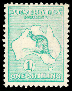 Kangaroo 1916 3rd wmk. 1/- MNH but some gum missing  Well centred. Strong colour