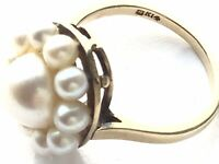 Vintage 14CT Gold Mikimoto Pearl Flower Ring Size L US 5.75
