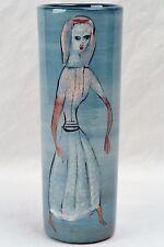 Pillin Pottery Vase, Woman with Bird Teal Cylinder Vase