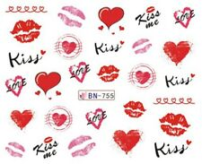 Nail Art Water Decals Stickers Transfers Valentines Lips Hearts Kisses (BN755)
