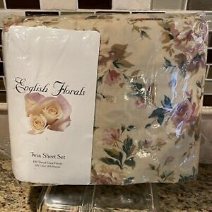 English Florals Twin Sheet Set WILTSHIRE FLORAL Tan Cottage Shabby Chic NEW