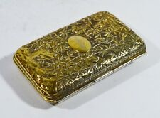 1840-1870 RARE LEECHING CHINESE EXPORT GILT SILVER CARD CASE CANTON BOX