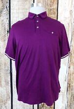 Men's Ted Baker Purple Puggle Cotton Short Sleeve Stripe Cuff Polo Shirt size 6