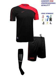 15 Soccer Team Uniform Bastia Set Black/Red , Short & Socks With Free Numbers