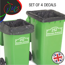 4 X WHEELIE BIN NUMBERS CUSTOM STREET HOUSE NUMBER VINYL GRAPHIC STICKERS DECAL