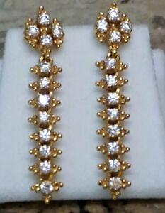 "Estate Vintage 22K 22Ct Yellow Gold Dangle Earrings 8.8Gr 1 1/2""L India Bali"