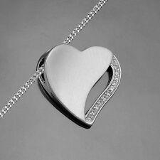 Frauen Zirkonia Herz Anhänger mit Collier Halskette Länge Wahl Echt Silber 925