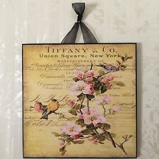 Tiffany & Co. Birds Plaque Wall Decor French Country Cottage Shabby Yellow