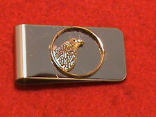 Hand cut Idaho quarter 24 kt gold plated mounted as a money clip