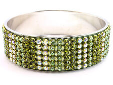 6 Row peridot green with AB austrian crystal rhinestone metal bangle bracelet