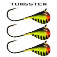 3 Pack - Tungsten Ice Fishing Jigs - ORANGE BLACK STRIPE GLOW(6 Size Variations)