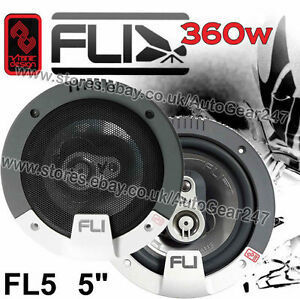 "FLI Integrator FI5 5"" inch Car Door Dash Shelf Coaxial Speaker Set 360w Pair"