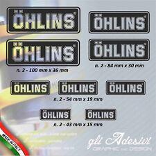 Set 9 Adesivi OHLINS moto auto Trasparente e Nero