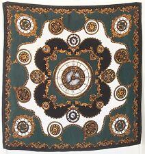 "TERRIART Deep Green, Bronze, White Clocks & Scrolls 36"" Square Scarf-Vintage"