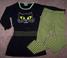 NWT CWD Kids BLACK CAT HALLOWEEN Dress/LIME GREEN Striped Leggings 5/6 Girl $55