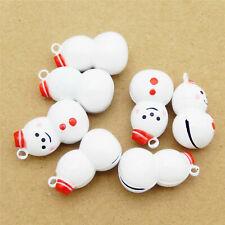 5pcs Christmas Snowman Brass Jingle Bells Pendant Charms DIY Accessories Crafts